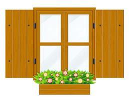 finestra in legno aperta con persiane vettore