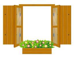 finestra in legno aperta con persiane e vetro trasparente vettore