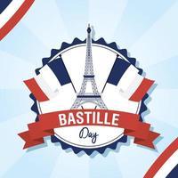 carta di celebrazione del giorno della bastiglia con icone francesi