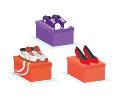 calzature e scarpe con set di icone di scatole vettore
