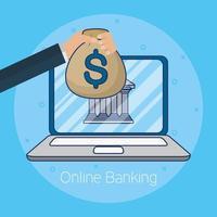 tecnologia bancaria online con laptop vettore