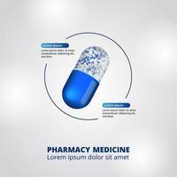 Visualizzazione dei dati infographic della farmacia della pillola della capsula 3d vettore