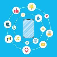 banner di marketing digitale con smartphone vettore