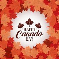 banner di celebrazione felice giorno del canada con foglie di acero