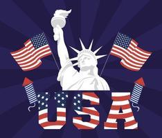 poster del giorno dell'indipendenza degli Stati Uniti con la statua della libertà vettore