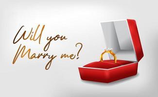 Anello d'oro 3d con fidanzamento scatola rossa vettore