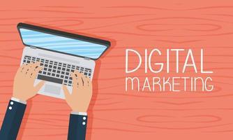 marketing digitale e banner sui social media vettore