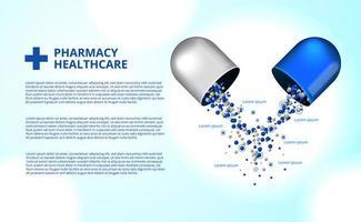 Sanità della medicina della capsula delle pillole della farmacia 3d