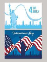 set di banner per la celebrazione del giorno dell'indipendenza degli Stati Uniti vettore