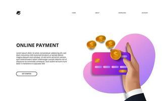 illustrazione della pagina di destinazione del pagamento online concetto di commercio elettronico di finanza aziendale