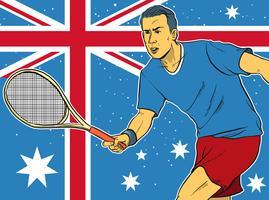 Atleta di tennis davanti all'illustrazione australiana della bandiera vettore