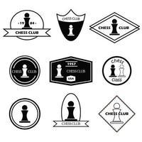 logo di scacchi impostato in stile semplice vettore