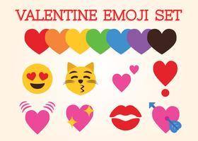 San Valentino emoji set vettoriale