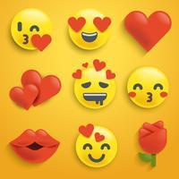vettore st. set di emoji di San Valentino