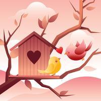 Vettore libero dell'illustrazione dell'uccello di amore