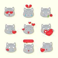 Carino gatto emote per San Valentino vettore