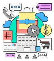 Illustrazione vettoriale di shopping online lineare