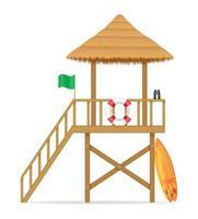 torre bagnino sulla spiaggia vettore