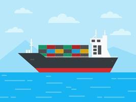 nave da carico container nell'oceano