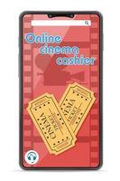 cassiere del cinema online di concetto di smartphone vettore