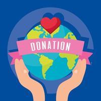 banner di beneficenza e donazione con il pianeta terra vettore