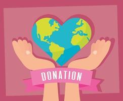 banner di beneficenza e donazione con pianeta a forma di cuore vettore