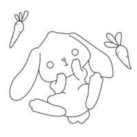 contorno di coniglio e carota per colorare vettore