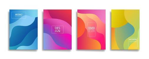 disegni di copertina del modello di linea astratta di colore sfumato brillante