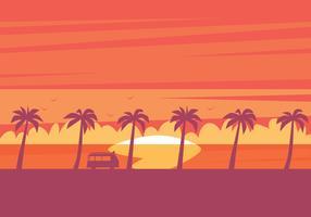 illustrazione di tramonto sulla spiaggia vettore