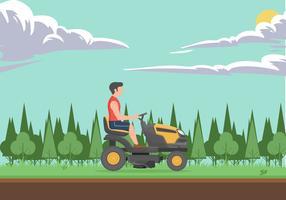 Uomo con il concetto di vettore dell'illustrazione della falciatrice da giardino