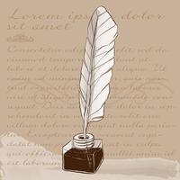 Illustrazione della penna dell'inchiostro e del vecchio inkwell