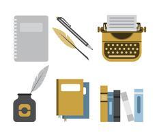 set di icone di scrittore scriba vettore