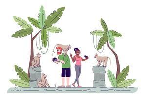turisti che scattano foto piatto doodle vettore