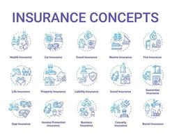 set di icone di concetto di assicurazione.