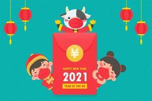 ragazzo e ragazza cinesi in abiti tradizionali vettore