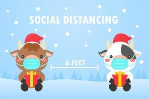 vacche di allontanamento sociale mascherate con regalo da Babbo Natale vettore