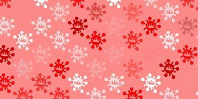 sfondo rosso chiaro con simboli di virus.