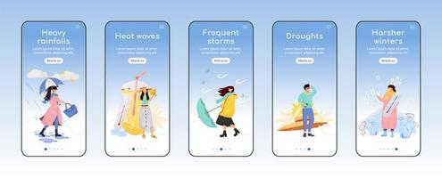 app mobile per l'onboarding delle previsioni del tempo vettore