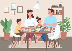 pasto in famiglia a tavola vettore