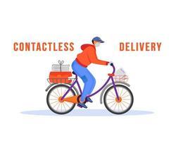 uomo di consegna senza contatto in sella a bici vettore
