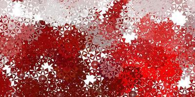 sfondo di bei fiocchi di neve rosso chiaro con fiori.