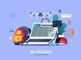 blogging concetto piatto con sfumature. vettore