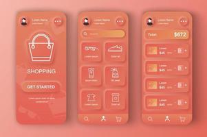 kit di design neumorfico unico per lo shopping online