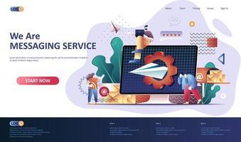 modello di pagina di destinazione piatta del servizio di messaggistica.