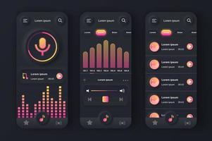 kit di design nero neumorfico unico per lettore musicale