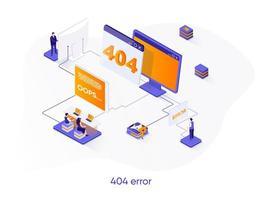 Banner web isometrico errore 404. vettore