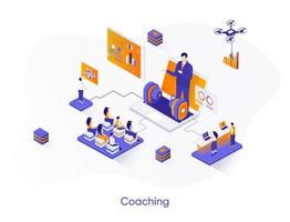 banner web isometrico di coaching. vettore