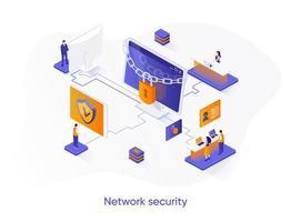 banner web isometrico di sicurezza di rete. vettore