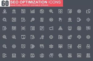 set di icone di sottile linea di ottimizzazione seo. vettore