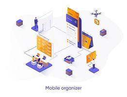 banner web isometrico organizzatore mobile. vettore